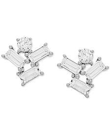 Cubic Zirconia Baguette Cluster Stud Earrings in Sterling Silver