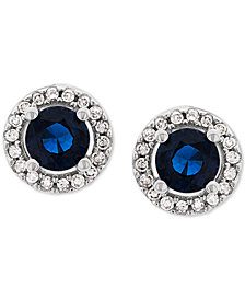 Sapphire (5/8 ct. t.w.) & Diamond (1/10 ct. t.w.) Stud Earrings in 14k White Gold