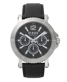 Versus Men's Steenberg Black Leather Strap Watch 45mm