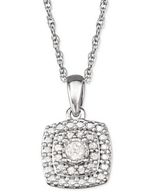"Diamond Halo 18"" Pendant Necklace (1/10 ct. t.w.) in Sterling Silver"