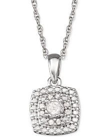 """Diamond Halo 18"""" Pendant Necklace (1/10 ct. t.w.) in Sterling Silver"""