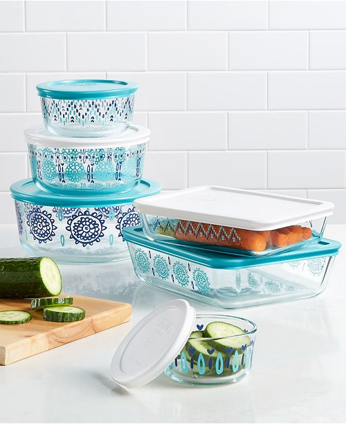 Pyrex 12-pc. Decorated Glass Storage Set, Created for Macy's