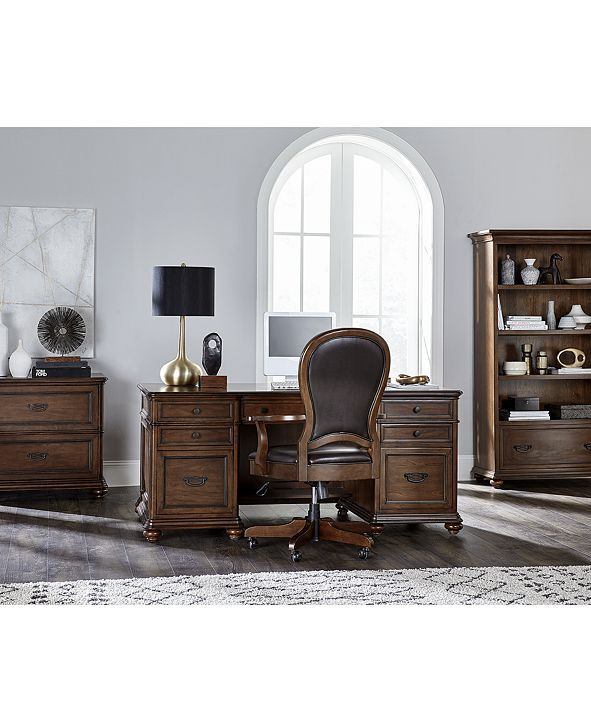 Furniture Clinton Hill Cherry Home Office, 2-Pc. Set (Executive Desk & Leather Desk Chair), Created for Macy's
