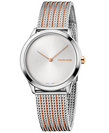 Calvin Klein Women's Minimal Two-Tone Stainless Steel Bracelet Watch 35mm