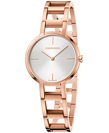 Calvin Klein Women's Swiss Cheers Pink Gold-Tone PVD Stainless Steel Bracelet Watch 32mm