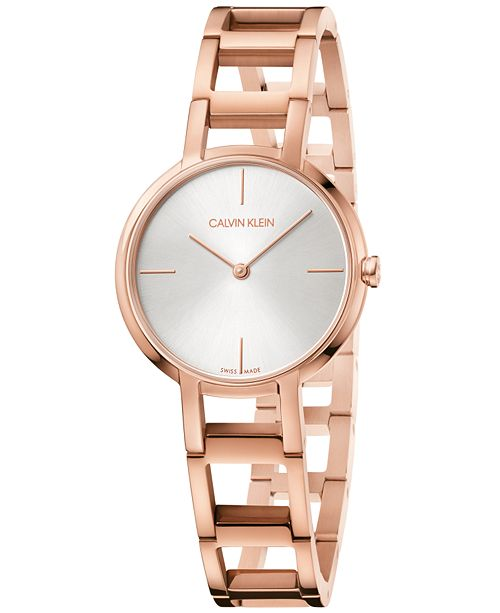 b81ec626c0 ... Calvin Klein Women s Swiss Cheers Pink Gold-Tone PVD Stainless Steel  Bracelet Watch ...
