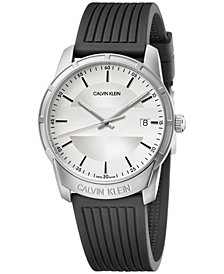 Calvin Klein Men's Swiss Evidence Black Rubber Strap Watch 42mm