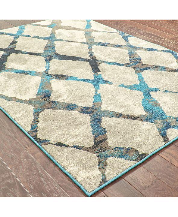 """Oriental Weavers Highlands 6613A Gray/Blue 2'3"""" x 7'6"""" Runner Area Rug"""