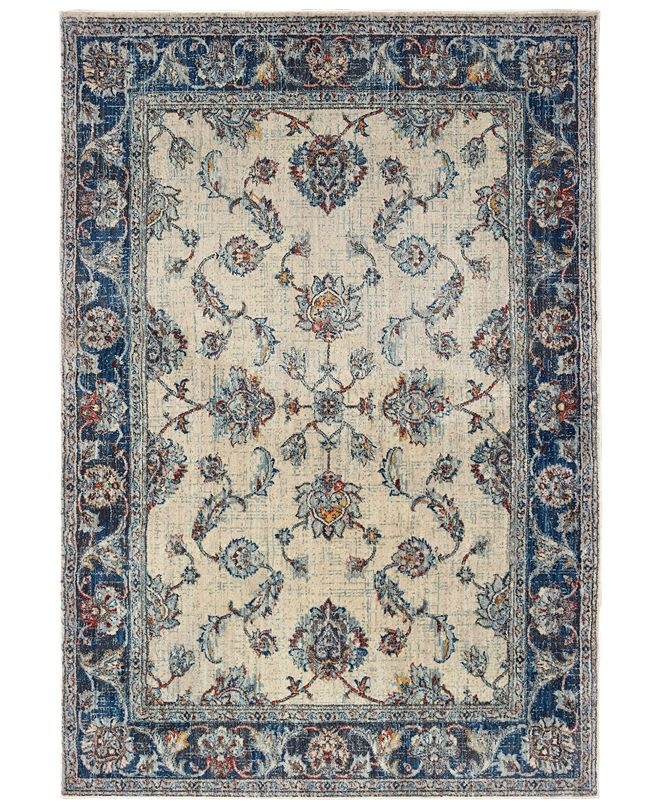 "Oriental Weavers Pandora 1802E Ivory/Blue 2'3"" x 7'6"" Runner Area Rug"