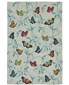 "Ravella 2274 Butterflies On Tree Green 5' x 7'6"" Indoor/Outdoor Area Rug"