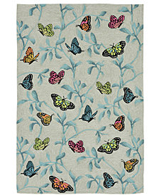 Liora Manne' Ravella 2274 Butterflies On Tree Green 2' x 3' Indoor/Outdoor Area Rug