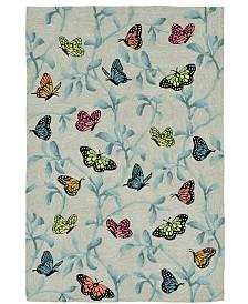 Liora Manne' Ravella 2274 Butterflies On Tree Green 2' x 8' Indoor/Outdoor Runner Area Rug
