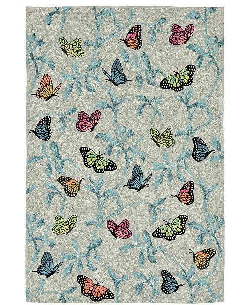 Liora Manne Ravella 2274 Butterflies On Tree Green 7 6 X 9 6
