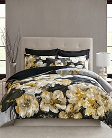 N Natori Casa Noir Full/Queen 3 Piece Cotton Duvet Cover Set