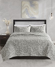 Kira King 3 Piece Cotton Coverlet Set