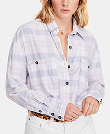 Free People Loveland Plaid Button-Up Top