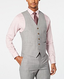 Men's Classic-Fit UltraFlex Stretch Light Gray Stepweave Suit Vest