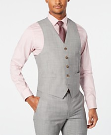 Lauren Ralph Lauren Men's Classic-Fit UltraFlex Stretch Light Gray Stepweave Suit Vest