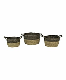 Black And Natural Baskets, Set of 3