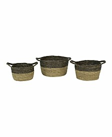 Kalalou Black And Natural Baskets, Set of 3