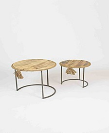 Round Nesting Tables w/Rope Accent, Set of 2