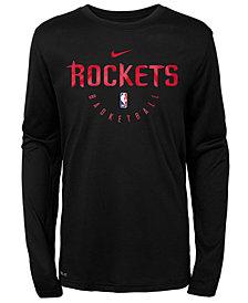 Nike Houston Rockets Long Sleeve Practice T-Shirt, Big Boys (8-20)