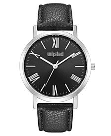 Men's Black Synthetic Leather Sport Watch, 40MM