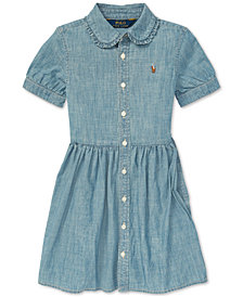 Polo Ralph Lauren Toddler Girls Ruffled Cotton Chambray Dress