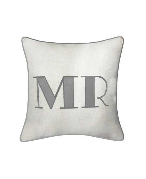 "Edie@Home Celebrations Pillow Embroidered Appliqued ""Mr"""