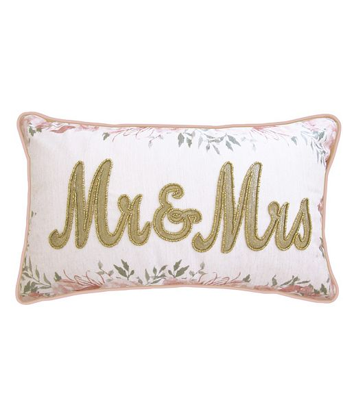 """Edie@Home Celebrations Pillow Beaded """"Mr & Mrs"""" On Floral Print with Double Flange"""