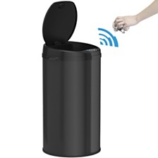 iTouchless 8 Gallon Round Sensor Trash Can with Deodorizer, Matte Black