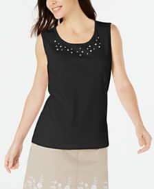 Karen Scott Pearl-Embellished Sleeveless Cotton Top, Created for Macy's