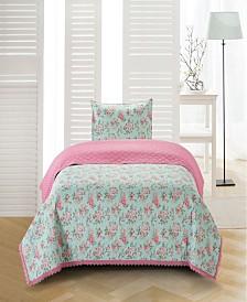 Olivia Crochet Trimmed Floral 2 Piece Quilt Set