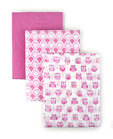 Tadpoles S, 3 Muslin Receiving Blankets Owl