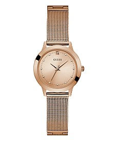 Guess Women's Rose Gold Diamond Mesh watch 25MM, Created for Macy's