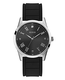 Guess Men's Black Silicone Diamond Watch 42MM, Created for Macy's