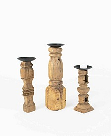 Reclaimed Wooden Furniture Leg Candle Holders, Set of 3