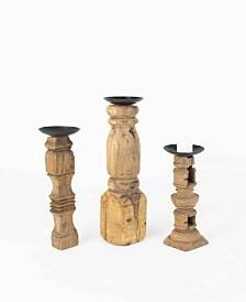 Kalalou Reclaimed Wooden Furniture Leg Candle Holders, Set of 3