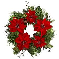 "28"" Poinsettia & Pine Wreath"