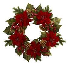 "Nearly Natural 24"" Poinsettia, Berry & Golden Pine Cone Artificial Wreath"