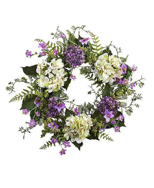 "Nearly Natural 24"" Hydrangea Berry Wreath"