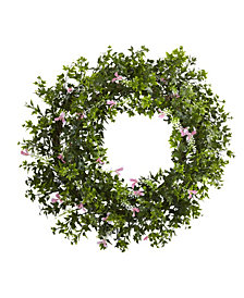 "Nearly Natural 18"" Mini Ivy and Floral Double Ring Wreath w/ Twig Base"