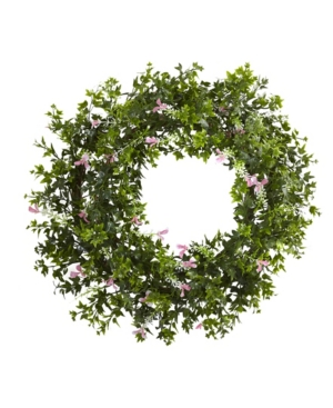"""Nearly Natural 18"""" Mini Ivy and Floral Double Ring Wreath w/ Twig Base"""