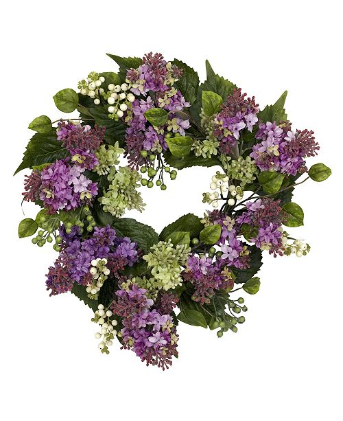 """Nearly Natural 20"""" Hanel Lilac Wreath"""