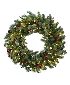 """30"""" Lighted Pine Wreath w/ Berries and Pine Cones"""