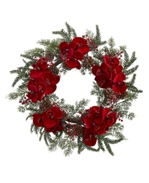 """Nearly Natural 22"""" Orchid, Berry and Pine Holiday Wreath"""