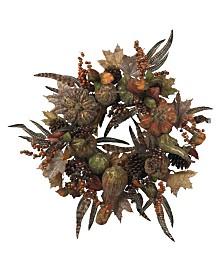 "Nearly Natural 28"" Autumn Pumpkin Wreath"