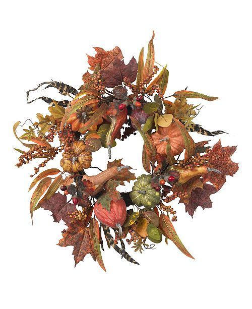 """Nearly Natural 24"""" Pumpkin and Berry Wreath"""
