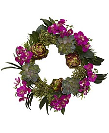 """Nearly Natural 20"""" Orchid, Artichoke and Succulent Wreath"""