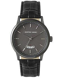 Geoffrey Beene Embossed Dial Open Calendar Black Strap Watch